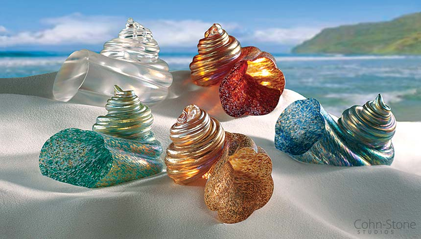 Hand Blown Glass Shell Paperweights, Cohn-Stone Studios